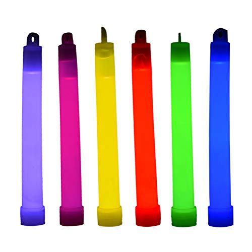 Amosfun 24 stücke Neon Leuchtstäbe mit Haken High Power Knicklichter Outdoor Notfall Glowsticks für Halloween Konzert Party Kinderspielzeug 6 zoll