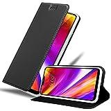 Cadorabo Hülle für LG G7 ThinQ in Classy SCHWARZ - Handyhülle mit Magnetverschluss, Standfunktion & Kartenfach - Hülle Cover Schutzhülle Etui Tasche Book Klapp Style