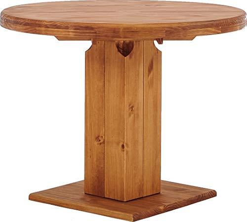 B.R.A.S.I.L.-Möbel Brasilmöbel Säulentisch Rio UNO Rund 100 cm Honig Tisch Esstisch Pinie Massivholz Esszimmertisch Holz Küchentisch Echtholz Größe und Farbe wählbar