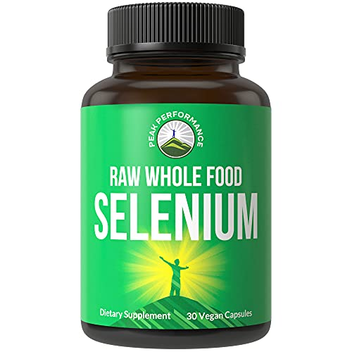 Raw Whole Food Selenium Supplement - Pure Selenium Vegan Capsules for Immune System, Thyroid Support, Heart Health, Prostate. Superior Absorption 30 Pills