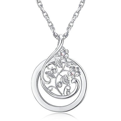Lupa collar flores Rhinestone Necklace agrandissement 2x colgante retro colgante para Mujer Burnish Orné dorado plata long, color plata