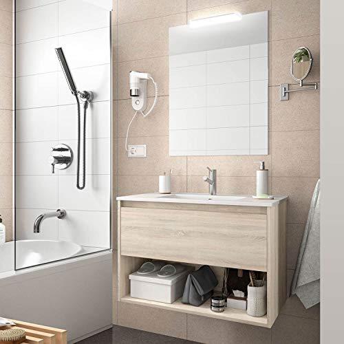 Yellowshop. - Mobile Bagno sospeso 60 Cm Legno cassetto vano lavabo specchiera LED MOD. Noja (Rovere Caledonia)