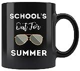Taza negra para profesores de 11 oz - Retro último día de clases, escuelas para el verano, tazas para profesores, tazas de café