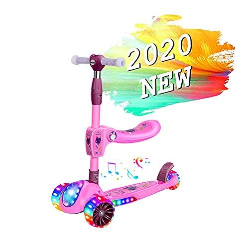 ZHANGCHUNLI Patinete 3 Ruedas Scooter para Niños Scooter for Niños, Patinete Plegable Altura Ajustable Desde 61.5cm~78.5cm Carga Máxima 50 kg con sedile