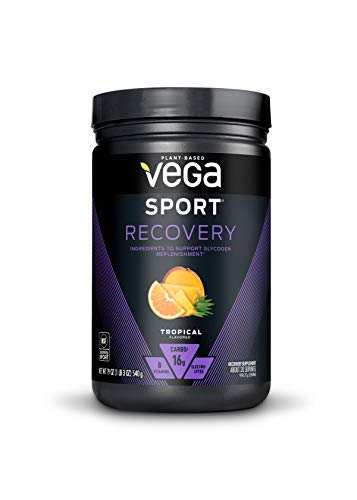 Vega Sport Recovery, Tropical - Post Workout Recovery Drink Mix with Electrolytes, Carbohydrates, B-Vitamins and Protein, Vegan, Lactose Free, Dairy Free, Gluten Free, Non GMO (20 Servings)