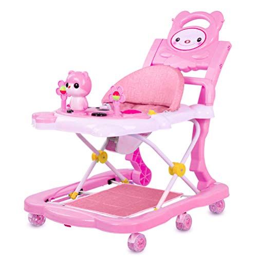 Wopohy 4 in 1 Cute Cartoon Baby Walker with Foot Pad | Push Handle Design | Detachable Game Music Tray Design | Foldable, Heights Adjustable Baby Walker Sitting Standing Rocker