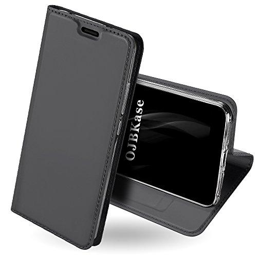 OJBKase Redmi S2 Hülle, Premium Slim PU Leder Handy Schutzhülle [Standfunktion] Hülle/Cover/Brieftasche/Ledertasche Bookstyle Tasche Lederhülle Handyhülle für Xiaomi Redmi S2 (Schwarzgrau)
