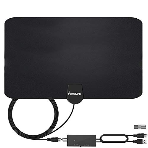 TV Antenna Indoor - Amplified HD Digital TV Antenna 250+ Miles Long Range - with Signal Amplifier Support 4K 1080p Freeview HDTV - Work with Fire TV Stick Samsung Sony LG All Types Older TV
