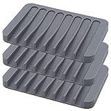 Sookg 3PCS Jaboneras de Silicona,para mantener el jabón seco y limpi,diseño antideslizante,para baño,cocina,contador (Gris)