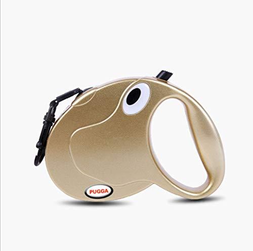 Leashes Teleskop Zugseil, Pet Traction, Hund Kette, Hundeleine, große und mittelgroße Hunde, Hyäne Seil (Farbe : Gold)