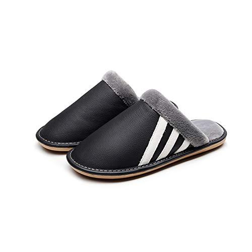 XVXFZEG Forro de algodón de la moda Negro zapatillas de felpa, antideslizante suela de goma impermeable de algodón de los deslizadores interiores y exteriores, engrosamiento de los hombres y los zapat