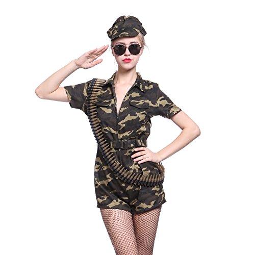 maboobie Tenue de Deguisement Militaire Uniforme Camouflage Femme Soldat S M L