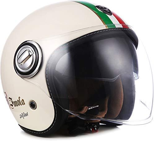 "SOXON® SP-888 ""Imola Creme"" · Jet-Helm · Motorrad-Helm Roller-Helm Scooter-Helm Moped Mofa-Helm Chopper Retro Vespa Vintage · ECE 22.05 Sonnenvisier Schnellverschluss SlimShell Tasche S (55-56cm)"