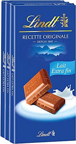 Lindt - Tablette Lait Extra Fin MAITRE CHOCOLATIER - Chocolat au Lait - 110g - Lot de 3