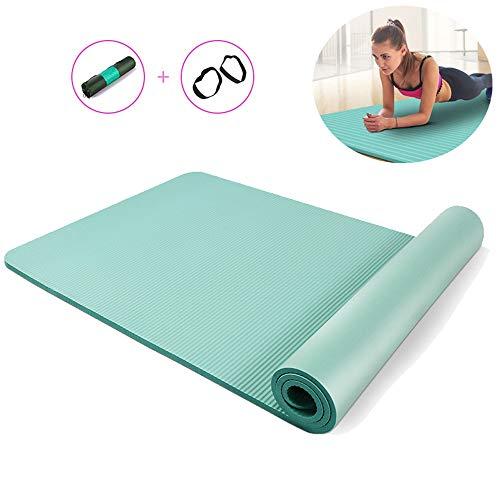 MQSS Gymnastikmatte rutschfest 1,5cm, extradick Fitnessmatten mit Tragegurt, yogamatten Auflage Sportmatte, schadstofffrei,Grün,80×185cm