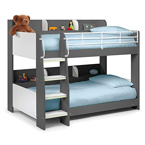 Happy Beds Domino Grey Wooden and Metal Kids Bunk Bed with Storage Shelves with 2x Memory Foam Mattress 3' Single 90 x 190 cm