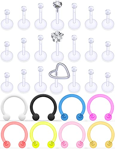 Uqnwbdq Clear Plastic Earrings Piercing Retainer for work 16G Lip Labert Medusa Nose Ring Hoop Flexible Cartilage Tragus Helix Rook Conch Daith Earring Stud Retainer Piercing Jewelry Women Men Sport