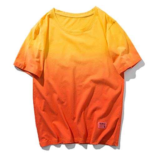 Mr.BaoLong&Miss.GOgo Camiseta para Hombre, Honda De Verano, Gradiente De Algodón De Manga Corta, Cuello Redondo Marca De Moda High Street Pareja Camisa De Estudiante