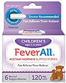 FeverAll Children's 120 mg Rectal Suppositories 6 Each (Pack of 5)