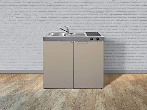 Stengel Miniküche Single Mini Küche 100cm Metall Becken rechts MK100 sand Matt