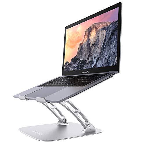 """Gemeita Soporte Laptop Ajustable, Soporte Ergonómico de Aluminio para Ordenador Portátil, Soporte Elevado con Ventilación de Calor, Compatible con 10-17"""" Computadora Portátil, Plateado"""