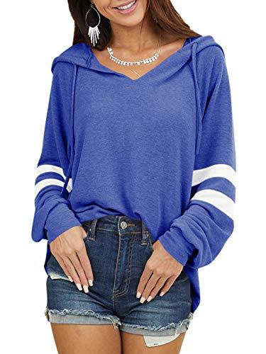 YOINS Pulli Damen Langarmshirt Sweatshirt mit Streifen Rundhals Ausschnitt Oversize...