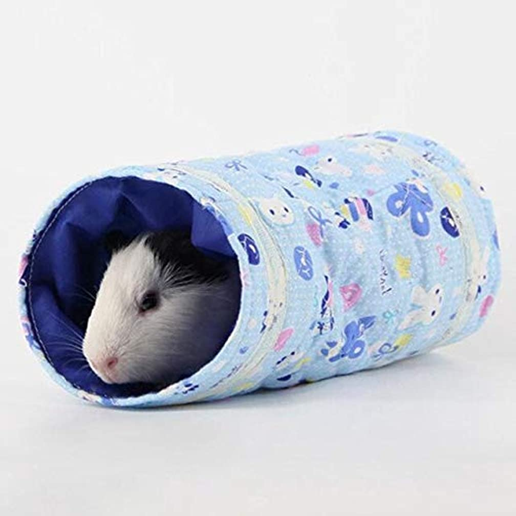 Cacys-Store - New Hamster Guinea Pig Tunnel Tubes Toy Cage Bed Hedgehog Chinchilla House Cave Small Animals Pet Products Gift Yellow Blue