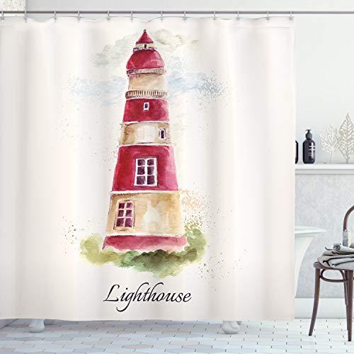 ABAKUHAUS Leuchtturm Duschvorhang, Pastell Aquarelle, Wasser Blickdicht inkl.12 Ringe Langhaltig Bakterie & Schimmel Resistent, 175 x 200 cm, Bordeauxrot