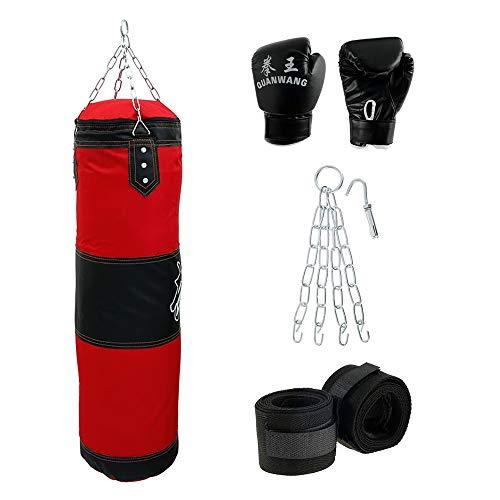 Boxsack Set Gefüllt Erwachsene Trainingsgeräte Boxing Trainer Schwere Freistehender Boxpartner Punch Sandsack mit wandhalterung Stahlkette Punchingsack Boxing Bag für Boxtraining Fitness