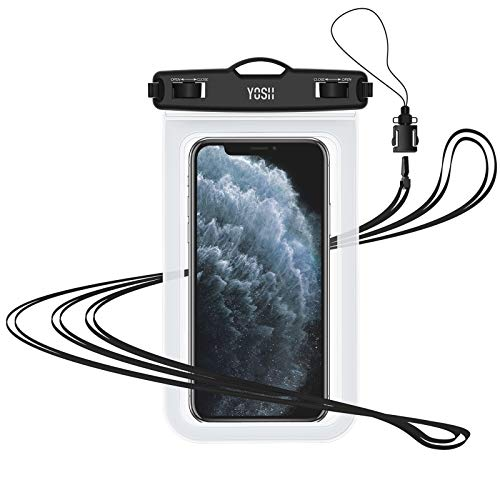 "YOSH Waterproof Phone Lanyard Pouch Cell Phone Dry Bag Underwater for iPhone11 Pro Max XR XS X 8 7 6 SE Galaxy Pixel up to 7.0"" (Crystal), IPX8 Water Proof Phone Case for Beach Kayaking Travel Bath"
