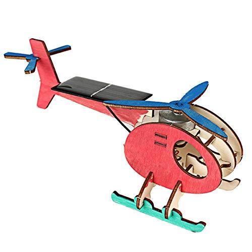 Fdit Assemble Avión Alimentado con energía Solar Avión accionado Solar Juguete 3D Helicóptero de Madera Avión Juguete Woodcraft 3D Juego de construcción de Rompecabezas de Madera