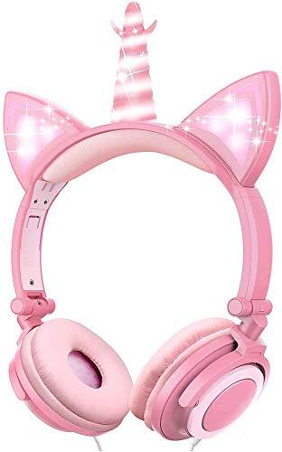 VERORAS Cuffie per bambini a forma di unicorno, con luci LED a forma di gatto, per bambini e adulti, pieghevoli, 85 dB, volume limitato, perfette per bambini (Unicorno di petalo Rose)