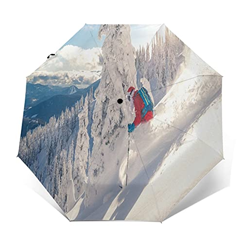 TISAGUER Compact Travel Umbrella Windproof Automatic,Skiers Wearing Santa Claus Clothes in The High Mountains Covered in Heavy Snow in Winter,Waterproof Umbrella