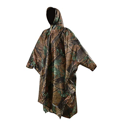 REDCAMP Waterproof Military Rain Poncho Leaf Camouflage with Hood and Arms,3 in 1 Multifunctional Lightweight Reusable Raincoat Poncho Tarp for Men Women Adults