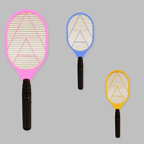 DRULINE Elektrische Fliegenklatsche,Insektenvernichter mit Herausnehmbaren Batterien Insekten Mörder Frei von Giftstoffen und Gerüchen Ideal für Drinnen und Draußen BUNT (3er Set)