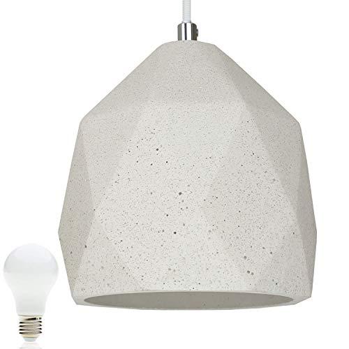 Beton-Lampe Beton-Leuchte LED E27 Pendel-Lampe Hänge-Leuchte BOSTON (Farbe: Beton-Hell) Vintage Industrieleuchte Wohnzimmerlampe Modern Betonfassung mit Textilkabel inkl. 13W LED Warmweiss