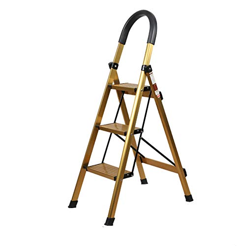 Escabeau d'escalier en métal de ménage Tabouret d'escalier pliant d'escalier en métal Escabeau (Color : Gold)