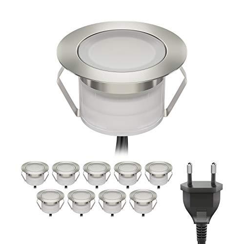 ledscom.de LED Boden-Einbauleuchte BIMI für außen warm-weiß, je 50lm, IP67, 45mm Ø 10er Set