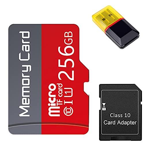 Gmjay Tarjeta Micro SD con Adaptador Tarjeta de Memoria TF de Clase 10 de Alta Velocidad para Teléfonos Celulares/Tacógrafos/Tabletas,256GB