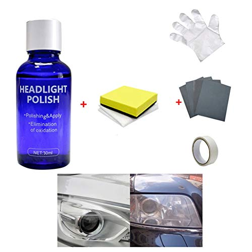 XBKPLO Headlight Restoration Polishing kit, Headlamp Brightener, High Density Headlight Polish Liquid Cars Restoration Fluid Durable Car Repair 30ml