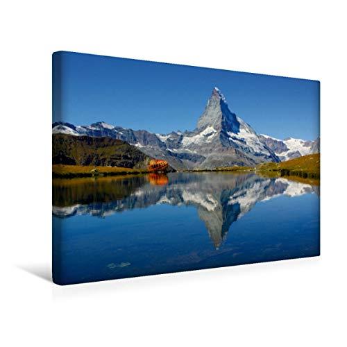 Calvendo Premium Textil-Leinwand 45 cm x 30 cm quer, Spieglein, Spieglein.Das doppelte Matterhorn   Wandbild, Bild auf Keilrahmen, Fertigbild auf echter Sunegga/Zermatt. Schweiz Natur Natur