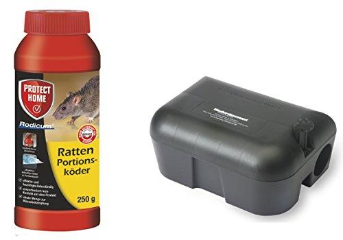 Köder-Discount: Sparset Rattenbekämpfung - 1 Köderbox Plus 250g Rodicum Rattengift