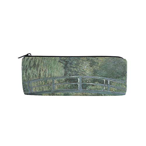 Federmäppchen, japanische Brücke, Wasserlililie Teich, Claude Monet, Reißverschluss, rechteckig, große Stifttasche für Studenten, Schreibwaren, Aufbewahrungstasche, Make-up-Tasche für Frauen