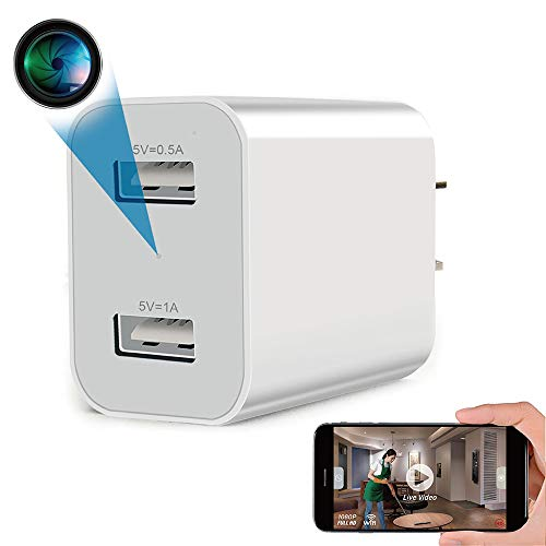 Spy Camera Wireless Hidden WiFi Camera with Remote Viewing, 2020 Newest Version 1080P HD Nanny Cam / Security Camera Indoor Video Recorder Motion Activated, Support iOS/Android, White, No Audio
