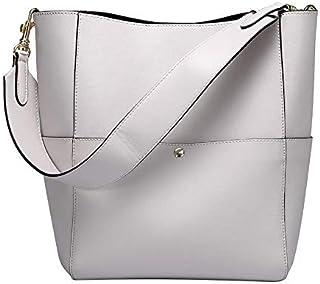 Large Handbag Lady Real Leather Bucket Handbag Female Luxury Ladies Shoulder Brown Bag (Color : White)