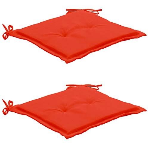 Festnight Coussins de Chaise de Jardin Coussins de Siège pour Chaises 2 pcs Rouge 50x50x3 cm