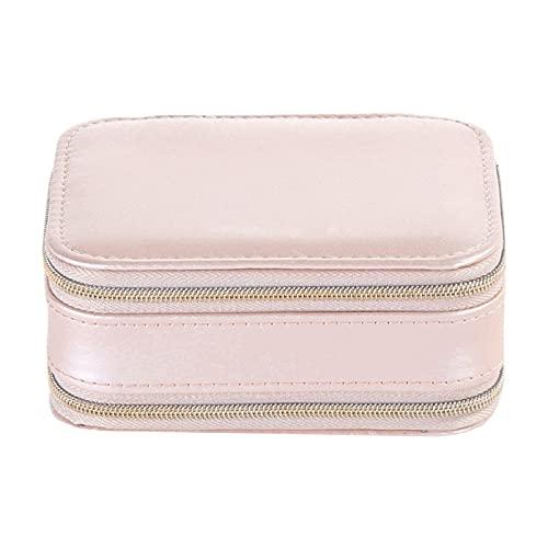 FACHA Caja de almacenamiento de joyería unisex con cremallera de piel sintética (color: rosa, tamaño: 11,5 x 8,5 x 5 cm)