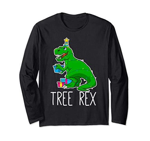 Árbol Rex Navidad Dinosaurio Divertido Jóvenes Niños Chicos Manga Larga