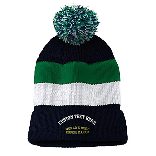 Custom Vintage Pom Pom Beanie Worlds Best Cookie Maker Embroidery Acrylic Skull Cap Hat for Men & Women Navy Stripes Personalized Text Here