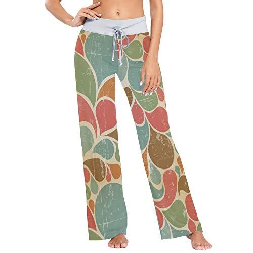 Pantalones de Pijama para Mujer, Pantalones de Yoga, Leggings Inferiores, Pantalones de salón de Cintura Alta, Gota de Agua Floral Abstracta del Arco Iris